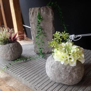 札幌軟石の鉢