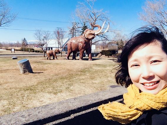 ナウマン象記念館前のナウマン象の親子と