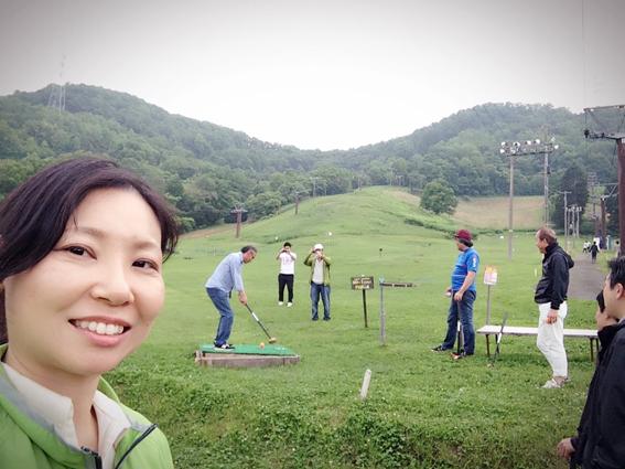会長のパークゴルフ始球式