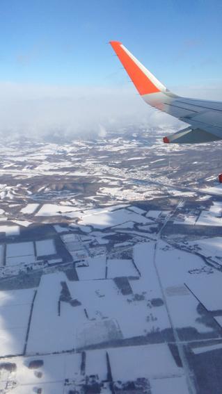 上空から千歳の冬景色