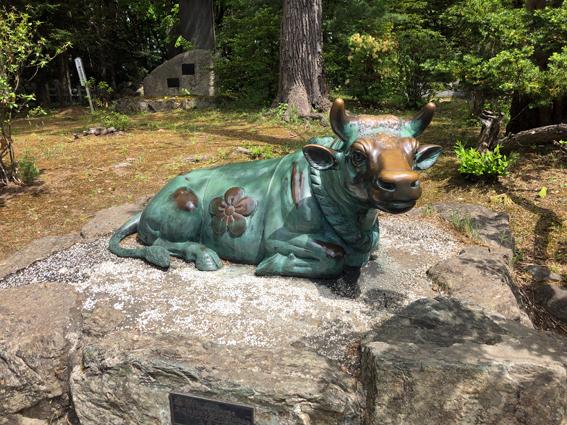撫でるとご利益がありそうな牛の像