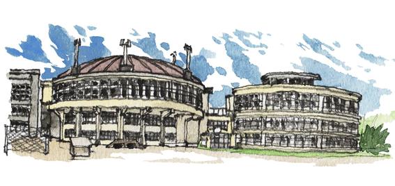松本浦先生の描いた絵鞆小学校