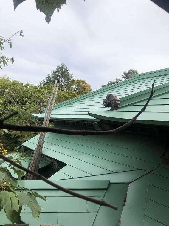 窓を覗くと、すごい屋根の入り組み度合い!