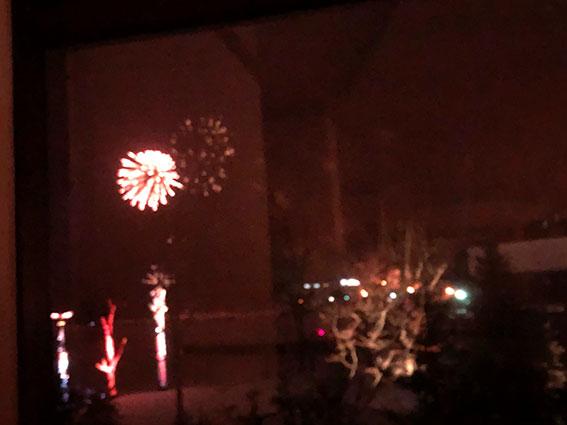 レストランから撮影した花火